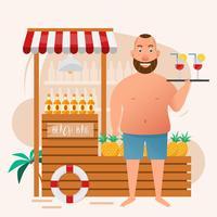 homem gordo segurando copo de cocktail no bar da praia vetor