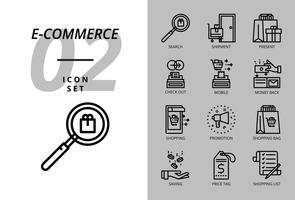 Pacote de ícones para e-commerce, pesquisa, envio, presente, check-out, celular, dinheiro de volta, roupa de homem, promoção, sacola de compras, compras.