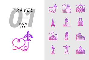 Pack ícone para viagens, avião de ar, paisagem, floresta, torre de Paris, farol, saco de trolley, Taj Mahal, torre de Pisa, Coliseu, estátua dos Estados Unidos, deja neiro, capital de uso. vetor
