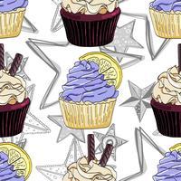 Padrão sem emenda com cupcakes e estrelas. vetor