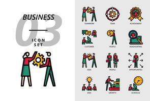 Pacote de ícones para o negócio, trabalho em equipe, equipe, realização, cliente, pessoas, headhunting, idéia, pessoas, oportunidades, crescimento, crescimento, agenda.