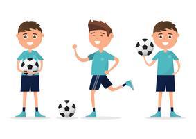 estudantes no caráter diferente que joga o futebol isolado no fundo branco.