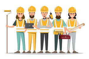 arquiteta, capataz, engenharia, trabalhador construção, em, diferente, characte vetor