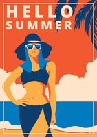 Poster retro da praia vetor