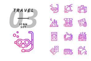 Pack ícone para viagens, mergulho, praia, mala, camping, mochila, mapa, passagem de ônibus, campista, castelo, passaporte, van de campista, montanha de gelo. vetor
