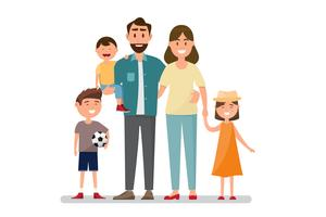 Família feliz. Pai, mãe, bebê, filho e filha.