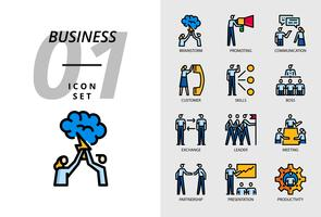 Pacote de ícones para negócios, Brainstorm, promovendo, comunicação, cliente, habilidades, chefe, troca, líder, reunião, parceria, apresentação, produtividade.