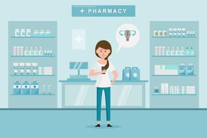 farmácia com mulher compra drogas na farmácia. vetor