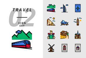 Pack ícone para viagens, transporte de trem, Dubai, bilhete de voo, pirâmide, ópera, Big Ben, mochileiros, grande muralha, Taj Mahal, moinho de vento, bilhete de trem, bilhete de barco. vetor