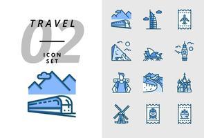 Pack ícone para viagens, transporte de trem, Dubai, bilhete de voo, pirâmide, ópera, Big Ben, mochileiros, grande muralha, Taj Mahal, moinho de vento, bilhete de trem, bilhete de barco.