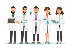 conceito médico. Cientistas homem e mulher pesquisa em laboratório de laboratório vetor