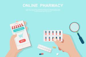 Conceito de farmácia on-line no estilo liso. vetor