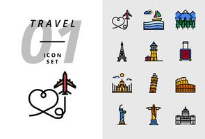 Pack ícone para viagens, avião de ar, paisagem, floresta, torre de Paris, farol, saco de trolley, Taj Mahal, torre de Pisa, Coliseu, estátua dos Estados Unidos, deja neiro, capital de uso.
