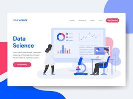 Modelo de página de aterrissagem do conceito de ilustração de ciência de dados. Conceito de design plano isométrico de design de página da web para o site e site móvel. vetor