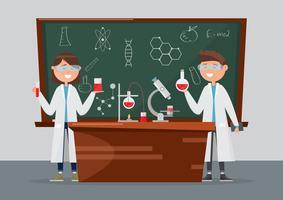 crianças em diferentes personagens. pesquisa escolar em química e ciência.