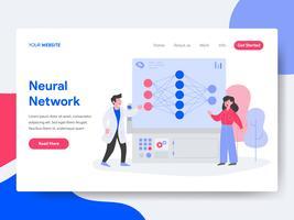 Molde da página da aterrissagem do conceito da ilustração da rede neural. Conceito de design plano isométrico de design de página da web para o site e site móvel.