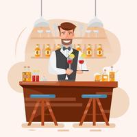 Barman esperto do homem que guarda o cocktail e a bebida em uma barra da noite.