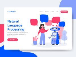 Molde da página da aterrissagem do conceito da ilustração do processamento de língua natural. Conceito de design plano isométrico de design de página da web para o site e site móvel.