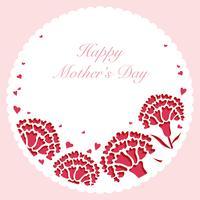Quadro redondo do cravo do vetor com espaço do texto para o dia de mãe.