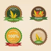 Produto Fresco Orgânico. Logotipo de ilustração vetorial. Distintivo fresco de fazenda.