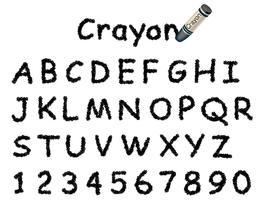 Fonte de lápis de cor do vetor. Tampas e números em preto. vetor