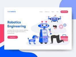 Molde da página da aterrissagem do conceito da ilustração da engenharia da robótica. Conceito de design plano isométrico de design de página da web para o site e site móvel.
