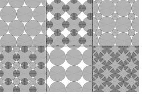 padrões geométricos de círculos concêntricos preto e brancos vetor