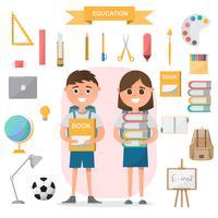 Conceito de educação. estudantes em pé com objetos de sala de aula em design plano vetor