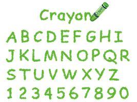 Fonte de lápis de cor do vetor. Tampas e números em verde. vetor