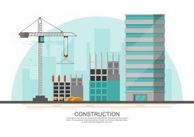 Processo de trabalho em obra em construção com guindastes e máquinas vetor