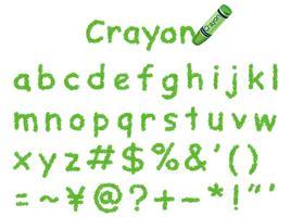 Fonte de lápis de cor do vetor. Letras minúsculas e sinais em verde. vetor