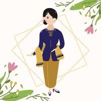 Mulheres indonésias vestindo Kebaya vetor