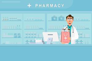 farmácia com médico e enfermeira no balcão vetor