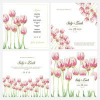 Convite de casamento elegante floral aquarela vetor
