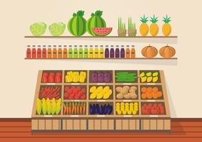 Loja rural. Mercado local. Vendendo frutas e legumes.