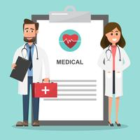Conjunto de médicos segurando a caixa de primeiros socorros e personagens de enfermeira. vetor