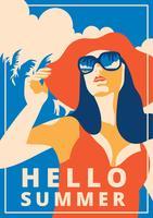 Poster retro de verão vetor
