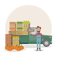 Vendendo frutas e legumes. produto de retirada e entrega de fazendeiro da fazenda orgânica para o mercado