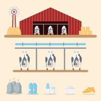 leite e produtos lácteos da fazenda de gado leiteiro no fundo.