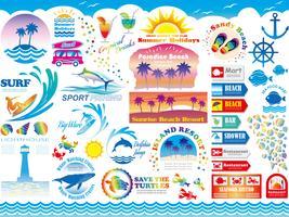 Conjunto do resort de praia sortidas e informação-gráficos relacionados com férias de verão. vetor