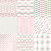 Padrões de ponto-de-rosa e verde Cross Stitch vetor