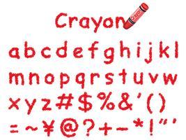 Fonte de lápis de cor do vetor. Letras minúsculas e sinais em vermelho. vetor
