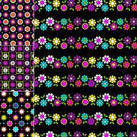 mod padrões geométricos e florais em fundos pretos vetor