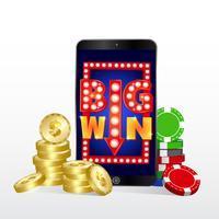 Conceito de casino online. Smartphone com moedas e fichas de poker.