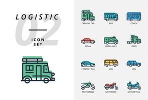 Pacote de ícones para logística, entrega drone, destino, manter seco, logística global, casa, compra, seguro, tempo de entrega, proteger, entrega, seguro, trole. vetor
