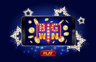 Banner de marketing de cassino on-line, toque para jogar o botão.
