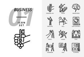 Pacote de ícones para negócios e estratégia, chave pessoal, visão, brainstorm, empregado, habilidade, assinar contrato, lucro, líder, objetivo, trabalho em equipe, sinal, planejamento.