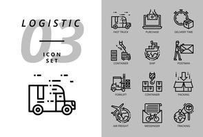 Pacote de ícones para logística, caminhão rápido, compra, tempo de entrega, empilhadeira, recipiente, embalagem, recipiente, navio, carteiro, frete aéreo, mensageiro de bicicleta, rastreamento. vetor