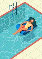 Pessoa aproveitando o verão na piscina vetor