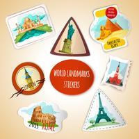 Etiquetas dos marcos do mundo